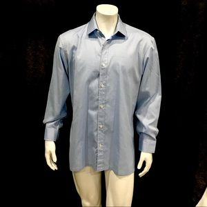 Charvet Mens Blue Textured Dress Shirt